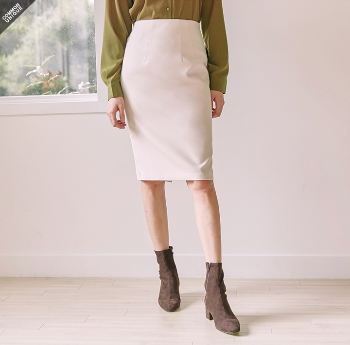 [SKIRT] FINE PINTUCK SLIT MIDI SKIRT