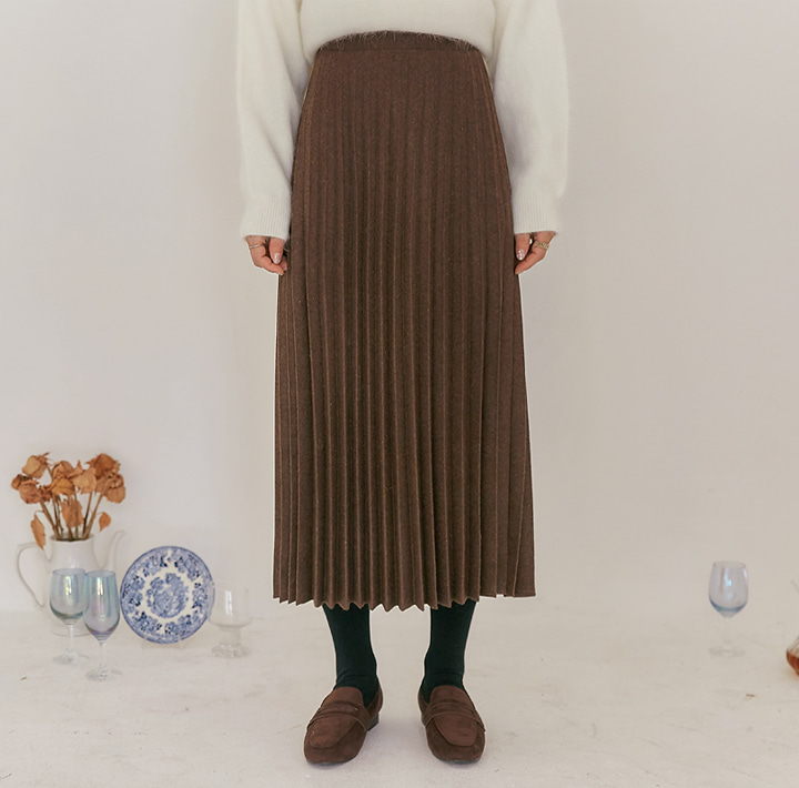 [SKIRT] COASTER WOOL PLEATS LONG SKIRT