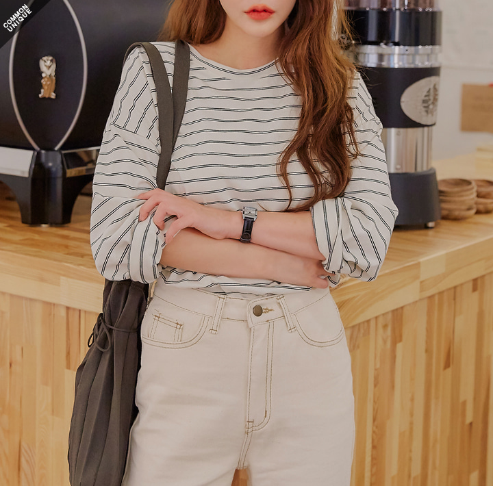 [TOP] DOUBLE STRIPE LOOSE FIT T