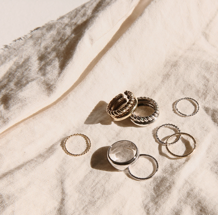 [JEWELRY] OVERR LAYERED RING 5 SET