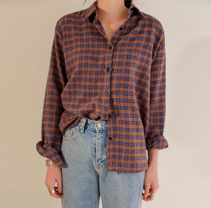 [TOP] POPIN VINTAGE CHECK SHIRTS