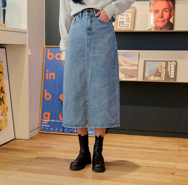 [SKIRT] MONTY SLIT DENIM LONG SKIRT