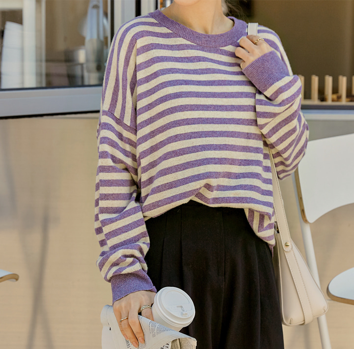 [TOP] WOOL CASHMERE STRIPE ROUND KNIT