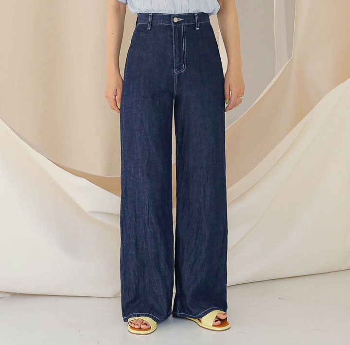 [BOTTOM] RIKA WIDE LONG DENIM PANTSWITH CELEBRITY _ 안소희 착용
