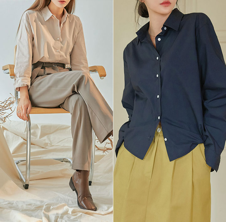 [TOP] BODA BASIC UNBAL COTTON SHIRTS