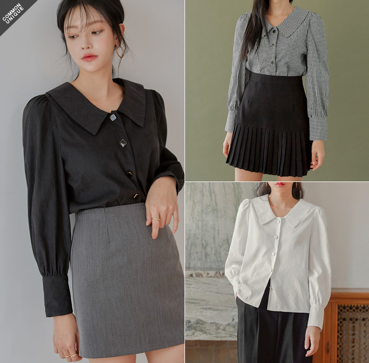 [TOP] LOSKA BUTTON POINT BLOUSE - 2 TYPE