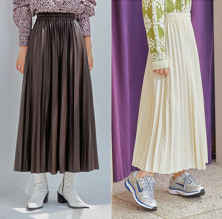 [SKIRT] LEATHER PLEATS BANDING LONG SKIRT