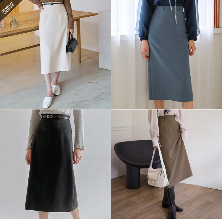 [SKIRT] ESSENTIAL BELT SET LONG SKIRT