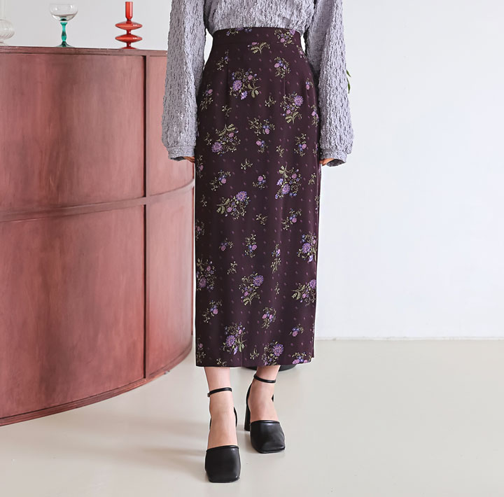 [SKIRT] MIRAS FLOWER BANDING LONG SKIRT