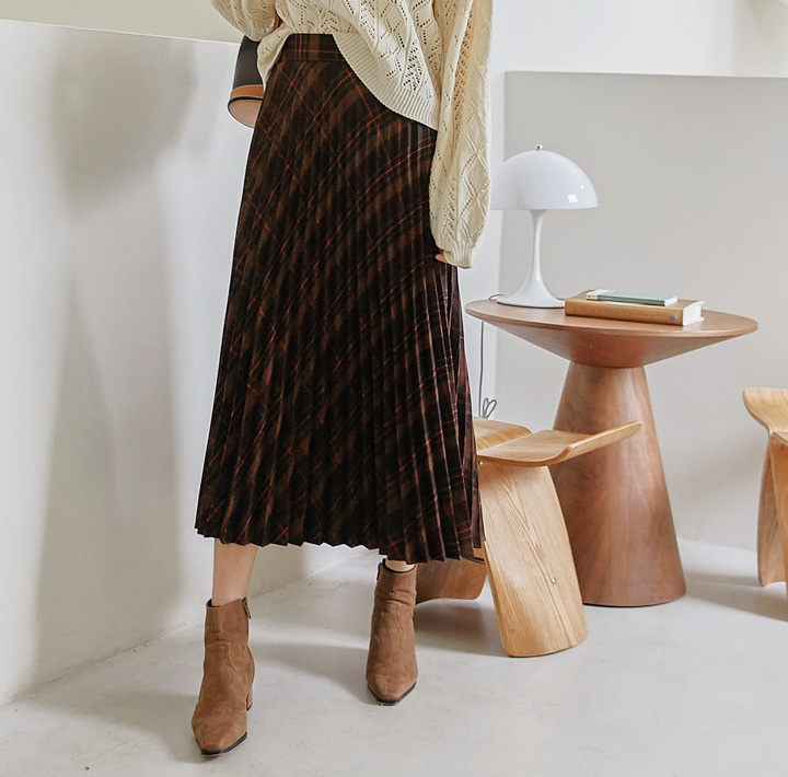 [SKIRT] BERIN CHECK PLEATS LONG SKIRT