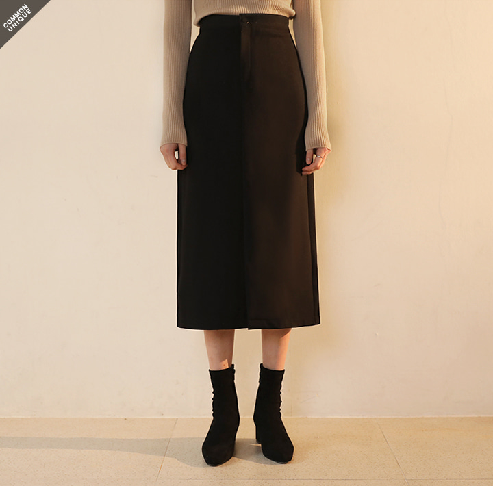 [SKIRT] BLACK SLIT LONG SKIRT - 2 TYPE