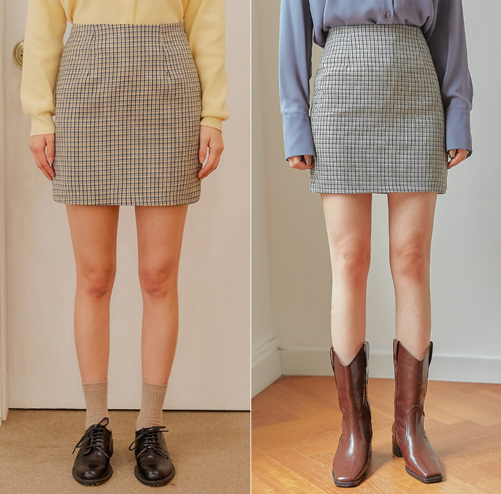 [SKIRT] ROISY CHECK H LINE MINI SKIRT