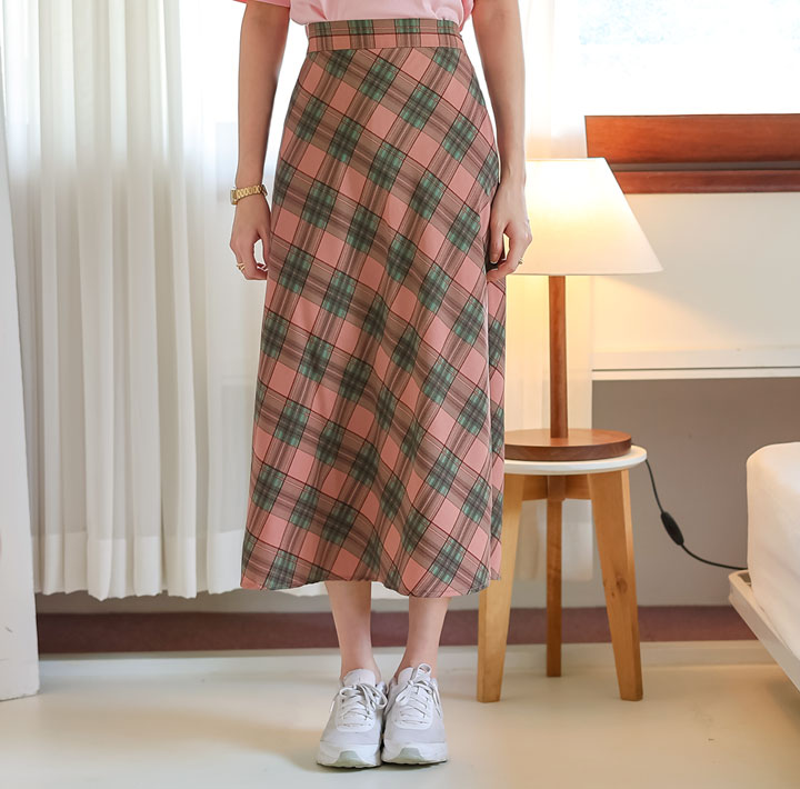 [SKIRT] CENO CHECK BANDING LONG SKIRT