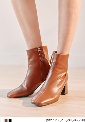 [SHOES] TRENDY SQUARE TOE ANKLE BOOTS