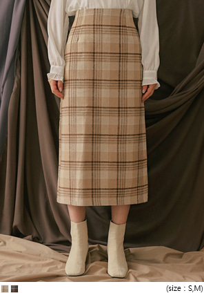 [SKIRT] MARTINI CHECK SLIT LONG SKIRT