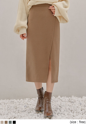 [SKIRT] ROIN SLIT BANDING KNIT LONG SKIRT