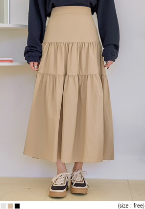 [SKIRT] MOHA BANDING CANCAN LONG SKIRT