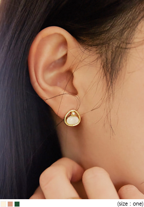 [JEWELRY] CRIC COLOR STONE SILVER EARRING