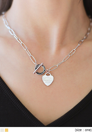 [JEWELRY] HEART PENDANT TOGGLE NECKLACE
