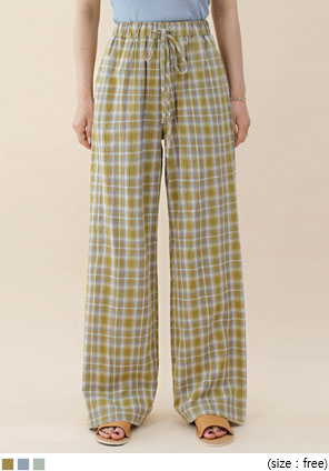 [BOTTOM] JACKY CHECK BANDING PANTS