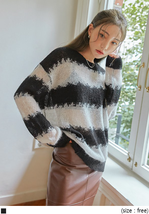 [TOP] BILLO WOOL BOLD STRIPE DAMAGE KNIT